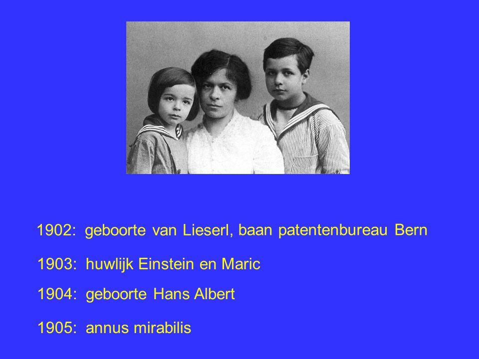 1902: geboorte van Lieserl 1903: huwlijk Einstein en Maric 1904: geboorte Hans Albert 1905: annus mirabilis, baan patentenbureau Bern