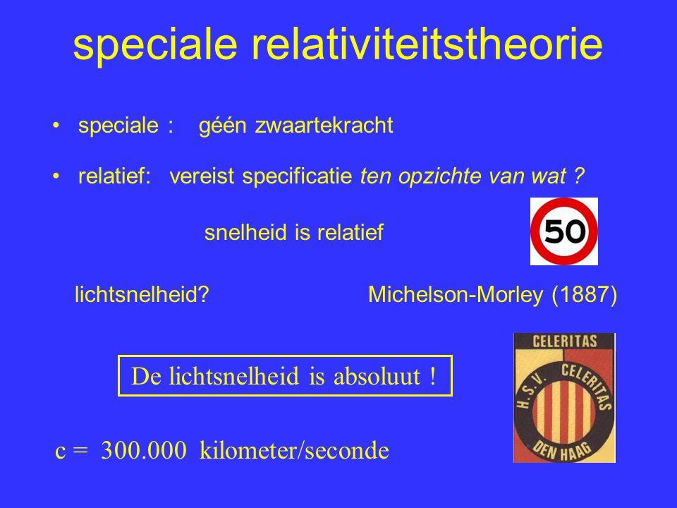 speciale relativiteitstheorie relatief: speciale : snelheid is relatief De lichtsnelheid is absoluut ! lichtsnelheid?Michelson-Morley (1887) c = 300.0