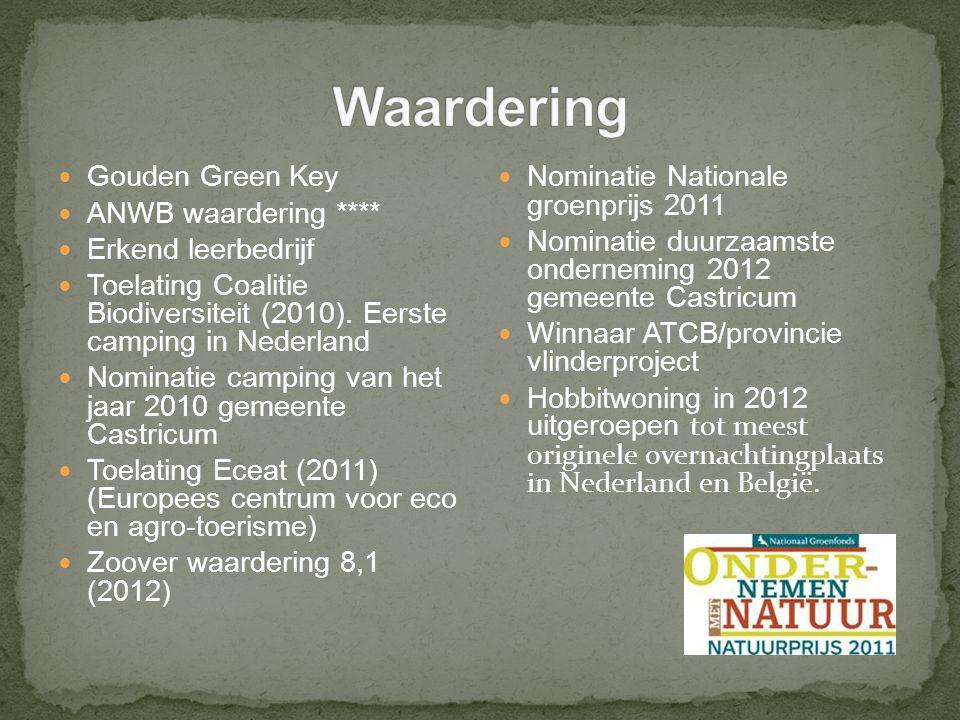 Gouden Green Key ANWB waardering **** Erkend leerbedrijf Toelating Coalitie Biodiversiteit (2010).