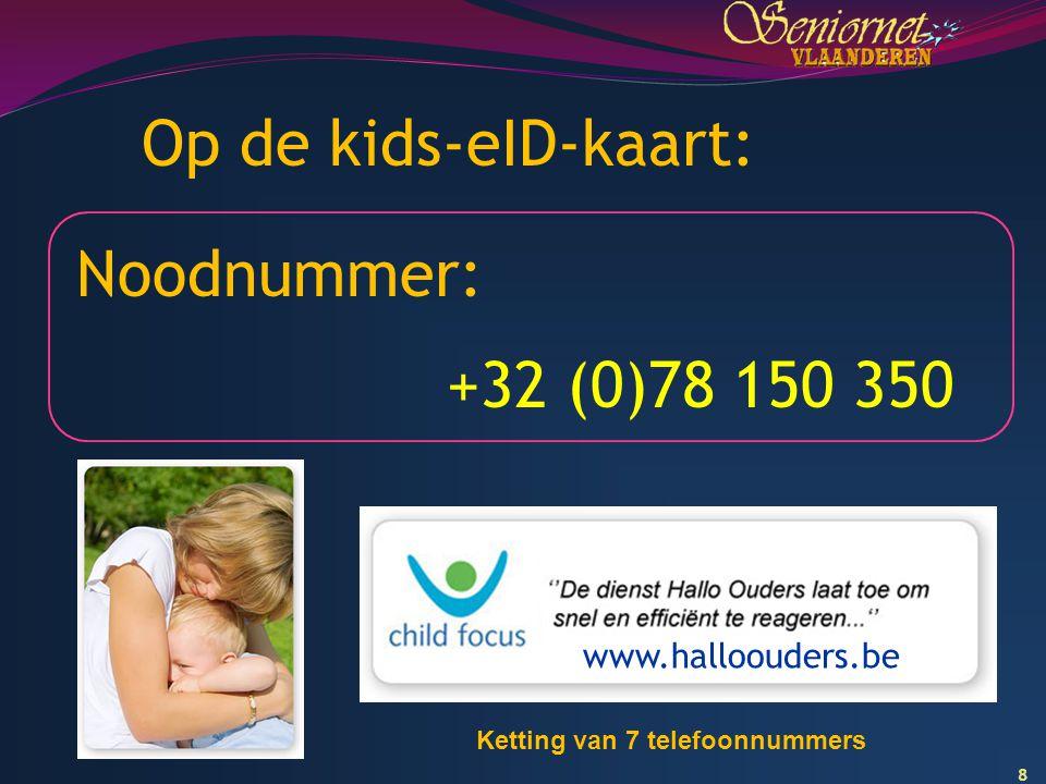 8 Op de kids-eID-kaart: Noodnummer: +32 (0)78 150 350 www.halloouders.be Ketting van 7 telefoonnummers