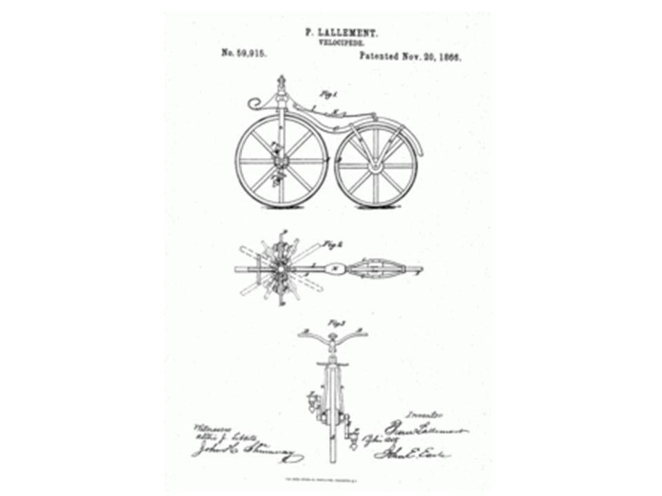 """1858 In plaats van een loopfiets is het nu met pedalen op het voorwiel """"velocipide"""" genoemd"""
