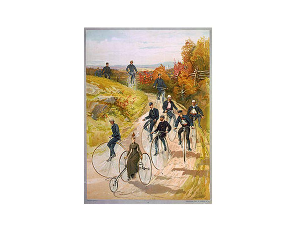 """1866 """"hoogwieler""""fiets:om sneller te kunnen fietsen moet men het voorwiel groter maken"""