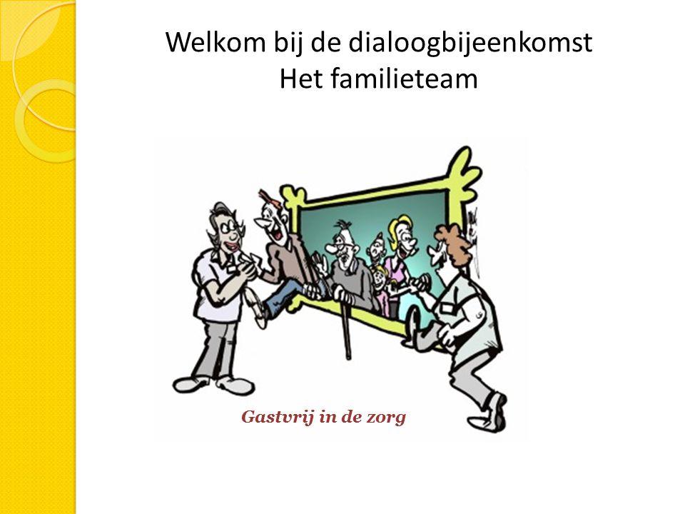 Welkom bij de dialoogbijeenkomst Het familieteam Gastvrij in de zorg