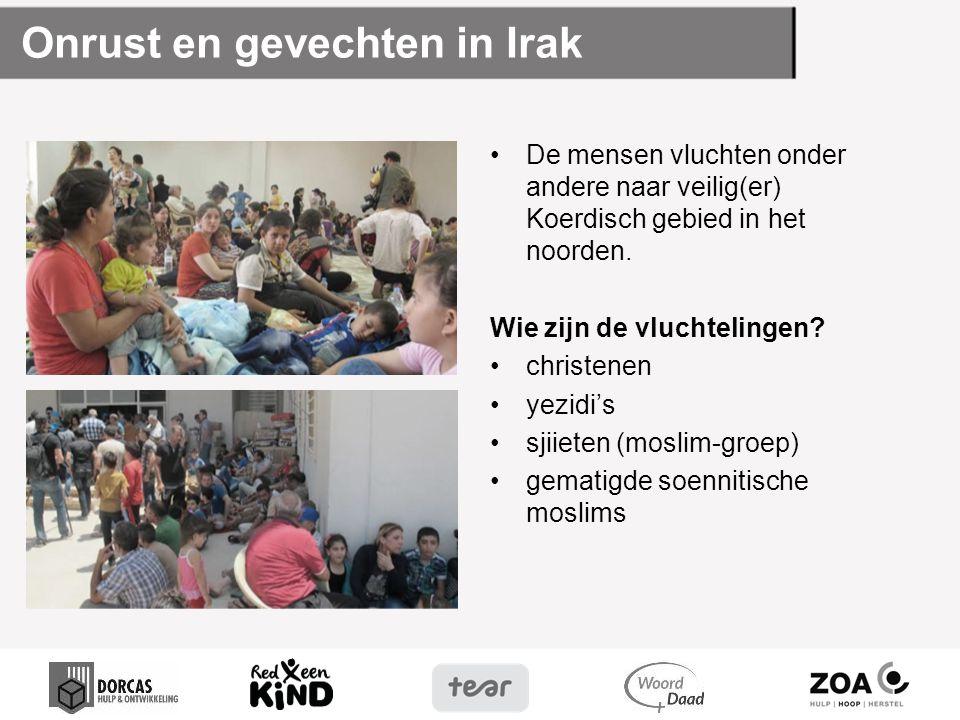 Onrust en gevechten in Irak De mensen vluchten onder andere naar veilig(er) Koerdisch gebied in het noorden. Wie zijn de vluchtelingen? christenen yez