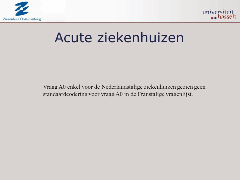 Acute ziekenhuizen Vraag A0 enkel voor de Nederlandstalige ziekenhuizen gezien geen standaardcodering voor vraag A0 in de Franstalige vragenlijst.