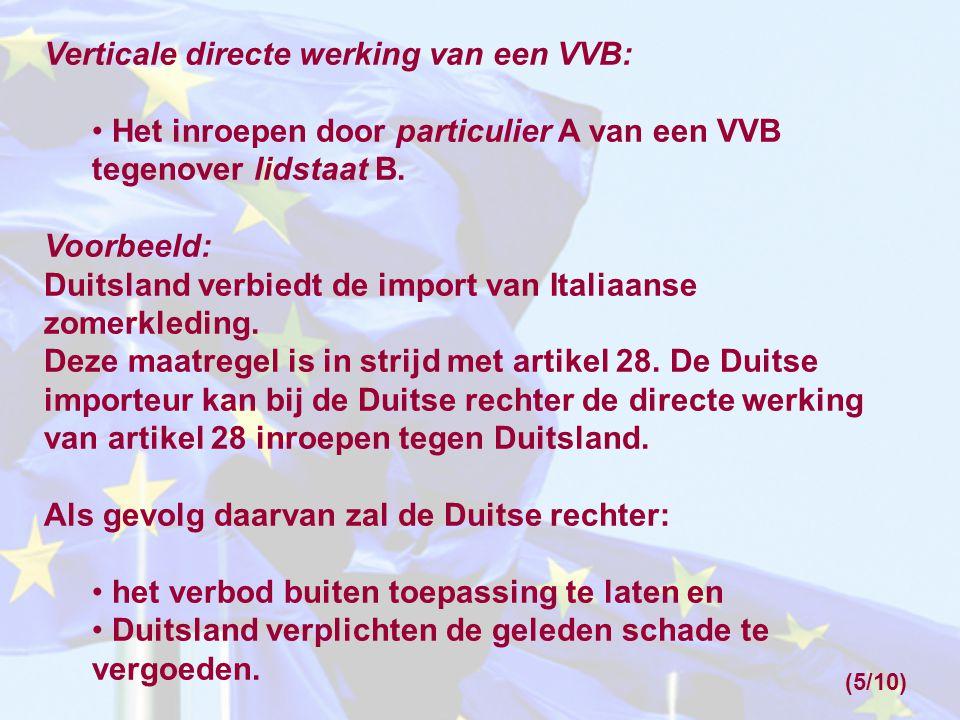 Verticale directe werking van een VVB: Het inroepen door particulier A van een VVB tegenover lidstaat B. Voorbeeld: Duitsland verbiedt de import van I