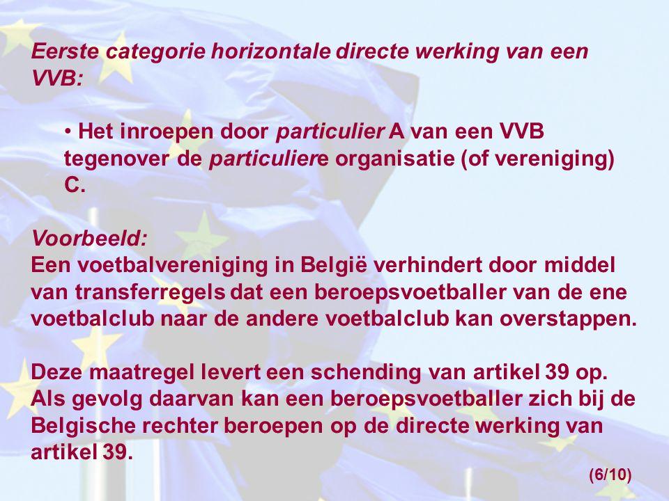 Eerste categorie horizontale directe werking van een VVB: Het inroepen door particulier A van een VVB tegenover de particuliere organisatie (of vereni