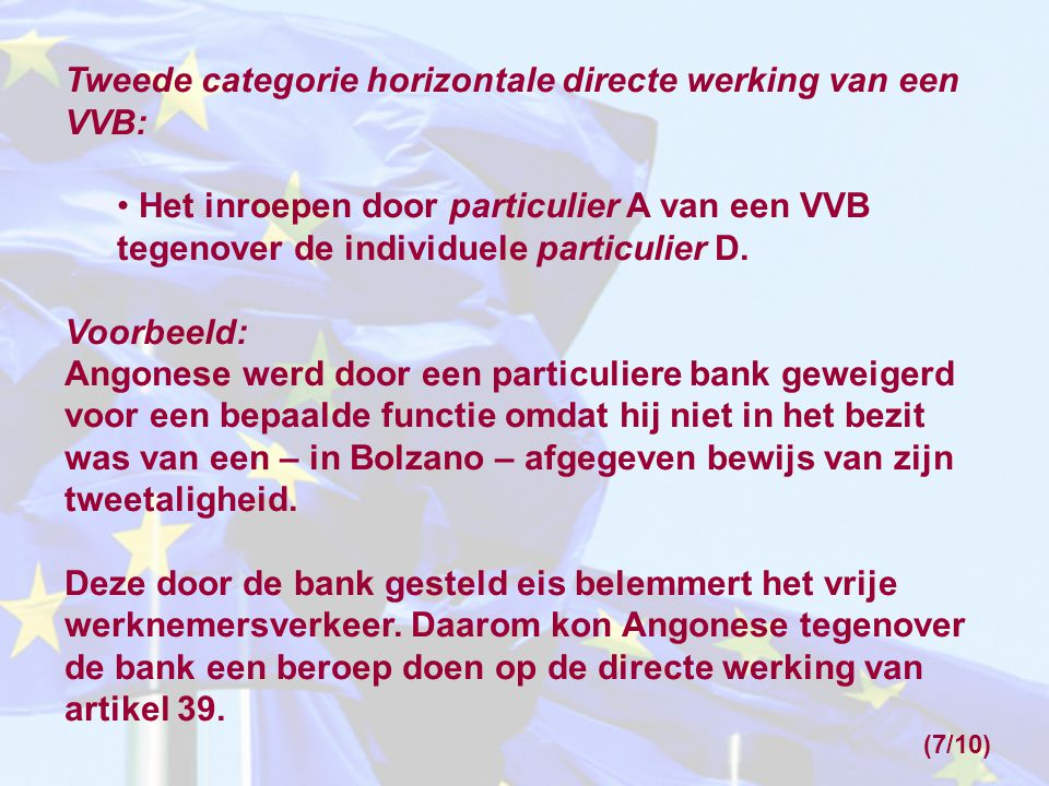 Wie kunnen de directe werking van een VVB inroepen.