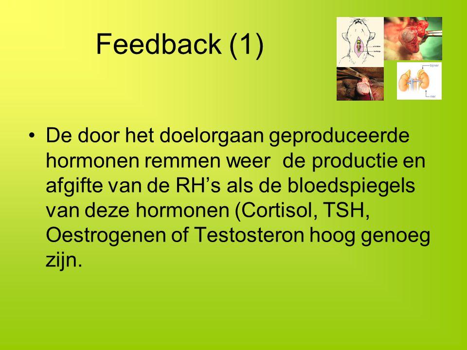 Feedback (1) De door het doelorgaan geproduceerde hormonen remmen weer de productie en afgifte van de RH's als de bloedspiegels van deze hormonen (Cor