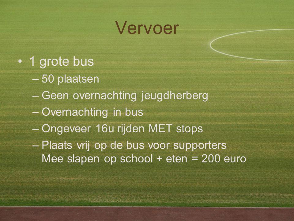 Vervoer 1 grote bus –50 plaatsen –Geen overnachting jeugdherberg –Overnachting in bus –Ongeveer 16u rijden MET stops –Plaats vrij op de bus voor supporters Mee slapen op school + eten = 200 euro