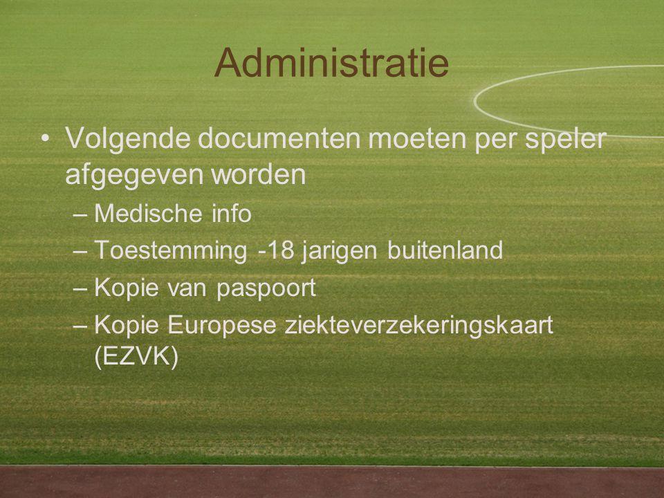 Administratie Volgende documenten moeten per speler afgegeven worden –Medische info –Toestemming -18 jarigen buitenland –Kopie van paspoort –Kopie Europese ziekteverzekeringskaart (EZVK)