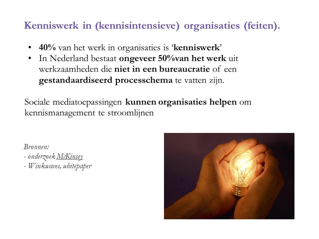 Kenniswerk in (kennisintensieve) organisaties (feiten). 40% van het werk in organisaties is 'kenniswerk' In Nederland bestaat ongeveer 50%van het werk