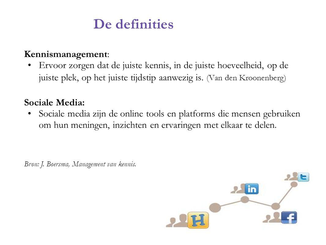 Kennismanagement: Ervoor zorgen dat de juiste kennis, in de juiste hoeveelheid, op de juiste plek, op het juiste tijdstip aanwezig is. (Van den Kroone