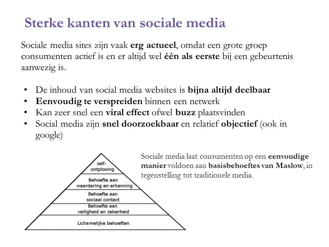Sterke kanten van sociale media Sociale media sites zijn vaak erg actueel, omdat een grote groep consumenten actief is en er altijd wel één als eerste