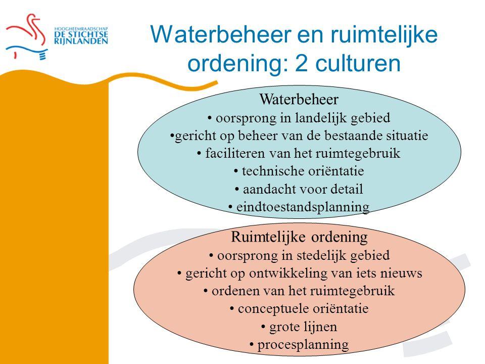 Initiatief van het waterschap Doelstellingen: Aanpassen peilen Terugdringen onderbemalingen Terugdringen wateroverlast Verbeteren waterkwaliteit