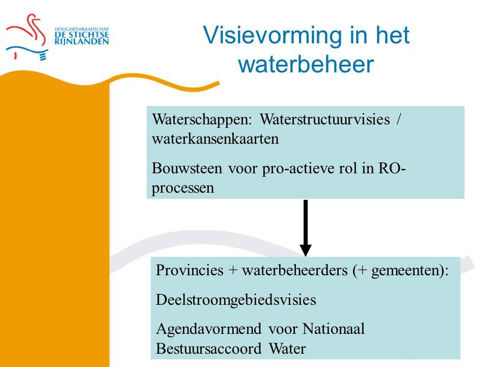 Visievorming in het waterbeheer Waterschappen: Waterstructuurvisies / waterkansenkaarten Bouwsteen voor pro-actieve rol in RO- processen Provincies + waterbeheerders (+ gemeenten): Deelstroomgebiedsvisies Agendavormend voor Nationaal Bestuursaccoord Water