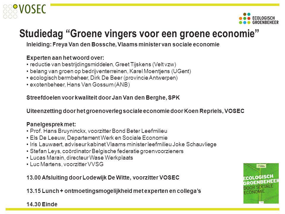 Inleiding: Freya Van den Bossche, Vlaams minister van sociale economie Experten aan het woord over: reductie van bestrijdingsmiddelen, Greet Tijskens