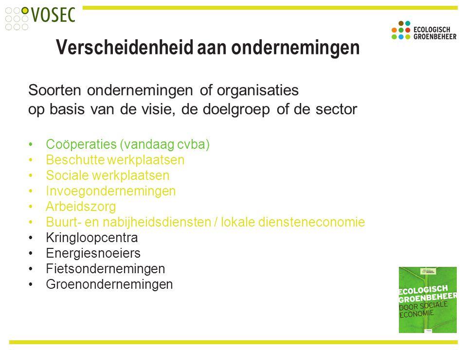 Verscheidenheid aan ondernemingen Soorten ondernemingen of organisaties op basis van de visie, de doelgroep of de sector Coöperaties (vandaag cvba) Be
