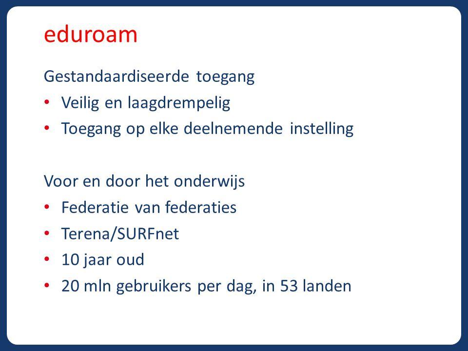 eduroam Techniek WiFi (802.11x), aparte vlans Encryptie (WPA2), beveiligde clientsoftware (802.1x) IdM (LDAP, AD, etc) gekoppeld via Radius servers Organisatie SURFnet Beheer (infra, standaarden, policies, contracten) Helpdesk Marketing/communicatie (NL)