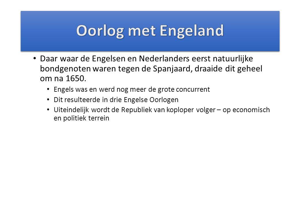 Daar waar de Engelsen en Nederlanders eerst natuurlijke bondgenoten waren tegen de Spanjaard, draaide dit geheel om na 1650.