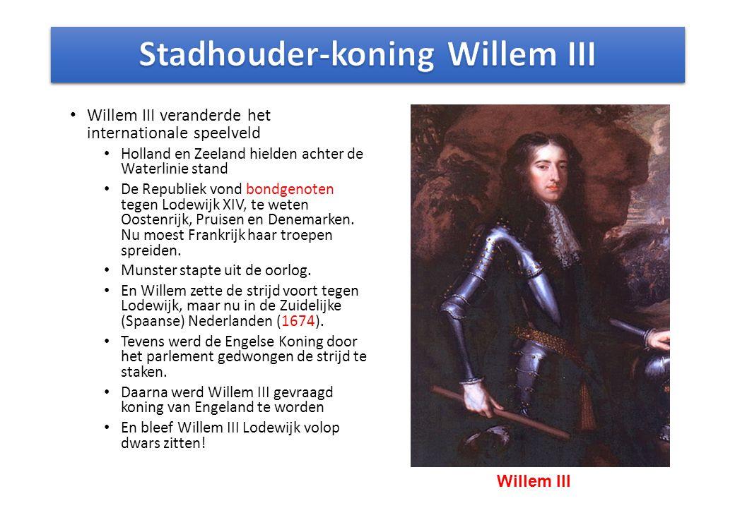 Willem III veranderde het internationale speelveld Holland en Zeeland hielden achter de Waterlinie stand De Republiek vond bondgenoten tegen Lodewijk XIV, te weten Oostenrijk, Pruisen en Denemarken.