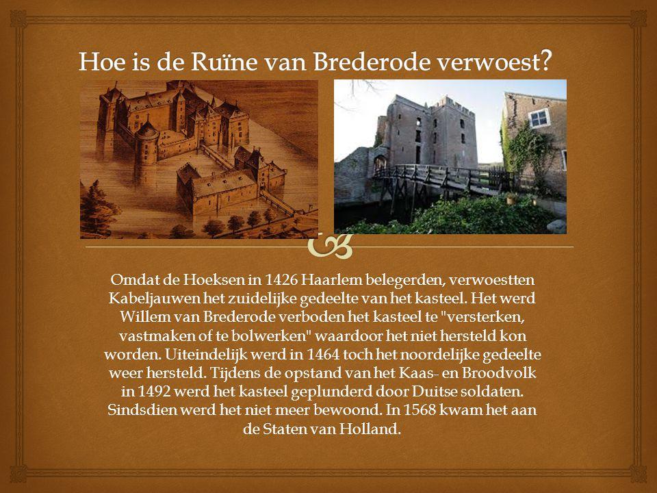 Omdat de Hoeksen in 1426 Haarlem belegerden, verwoestten Kabeljauwen het zuidelijke gedeelte van het kasteel. Het werd Willem van Brederode verboden h