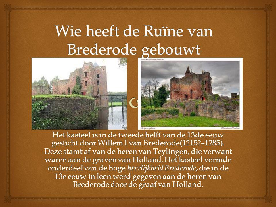 Het kasteel is in de tweede helft van de 13de eeuw gesticht door Willem I van Brederode(1215 –1285).