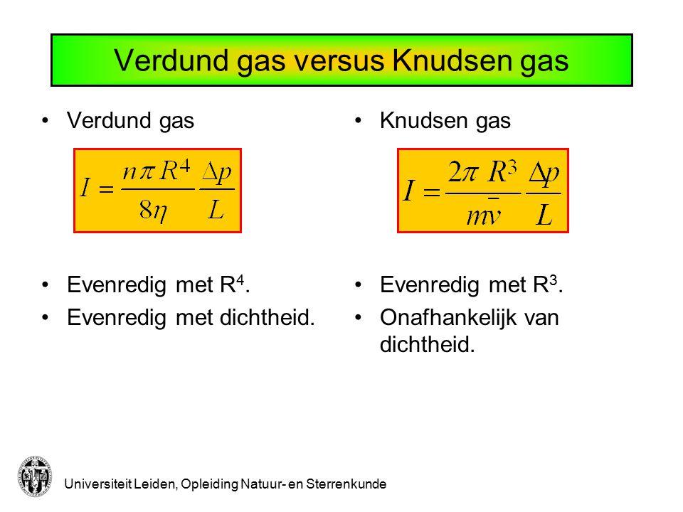 Universiteit Leiden, Opleiding Natuur- en Sterrenkunde Verdund gas versus Knudsen gas Verdund gas Evenredig met R 4. Evenredig met dichtheid. Knudsen