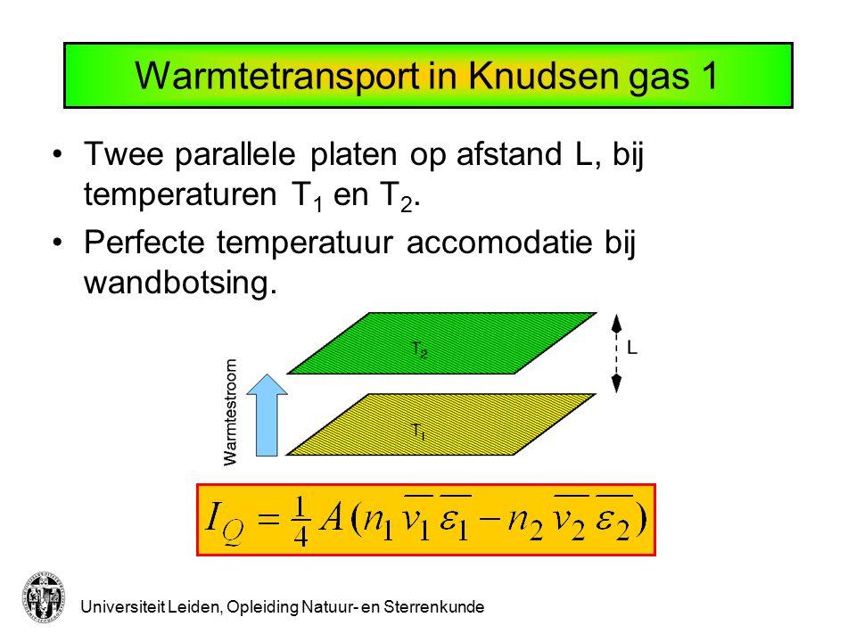 Universiteit Leiden, Opleiding Natuur- en Sterrenkunde Warmtetransport in Knudsen gas 1 Twee parallele platen op afstand L, bij temperaturen T 1 en T