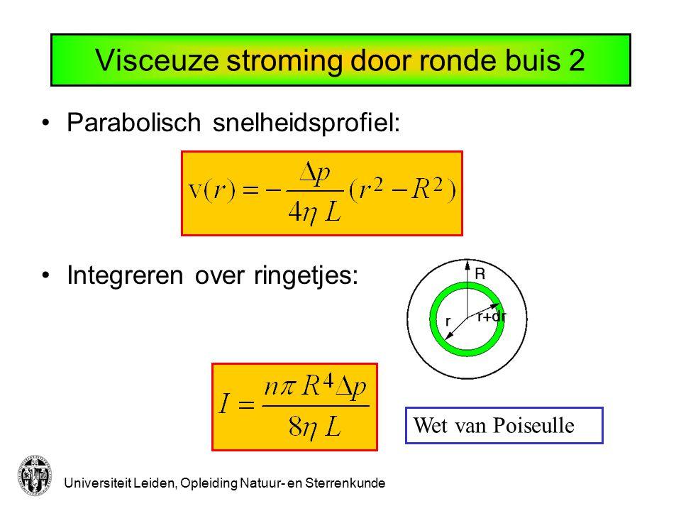 Universiteit Leiden, Opleiding Natuur- en Sterrenkunde Visceuze stroming door ronde buis 2 Parabolisch snelheidsprofiel: Integreren over ringetjes: We