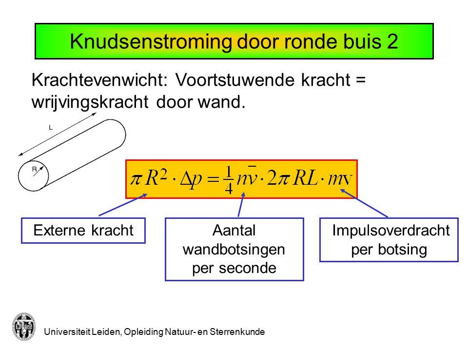 Universiteit Leiden, Opleiding Natuur- en Sterrenkunde Krachtevenwicht: Voortstuwende kracht = wrijvingskracht door wand. Externe krachtAantal wandbot