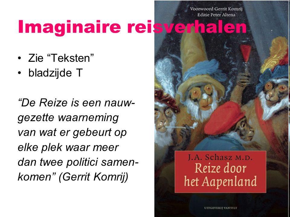 """Imaginaire reisverhalen Zie """"Teksten"""" bladzijde T """"De Reize is een nauw- gezette waarneming van wat er gebeurt op elke plek waar meer dan twee politic"""