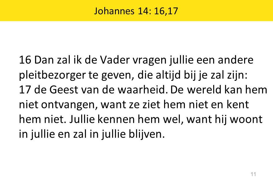Johannes 14: 16,17 11 16 Dan zal ik de Vader vragen jullie een andere pleitbezorger te geven, die altijd bij je zal zijn: 17 de Geest van de waarheid.