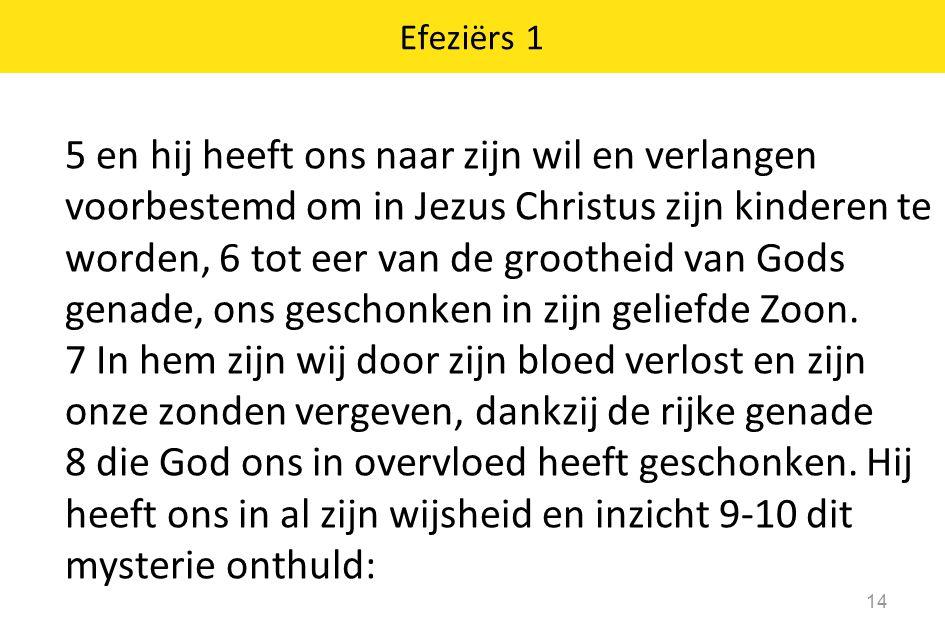 Efeziërs 1 14 5 en hij heeft ons naar zijn wil en verlangen voorbestemd om in Jezus Christus zijn kinderen te worden, 6 tot eer van de grootheid van G