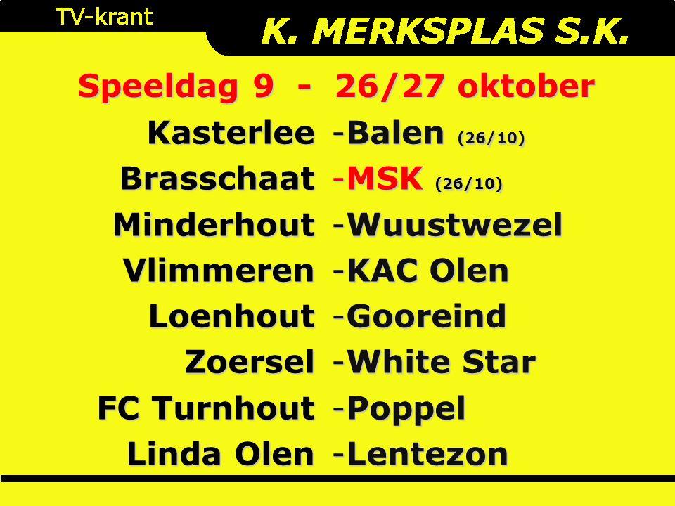 Speeldag 9 - 26/27 oktober KasterleeBrasschaatMinderhoutVlimmerenLoenhoutZoersel FC Turnhout Linda Olen -Balen (26/10) -MSK (26/10) -Wuustwezel -KAC O