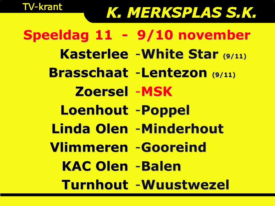 Speeldag 11 - 9/10 november KasterleeBrasschaatZoerselLoenhout Linda Olen Vlimmeren KAC Olen Turnhout -White Star (9/11) -Lentezon (9/11) -MSK -Poppel -Minderhout -Gooreind -Balen -Wuustwezel