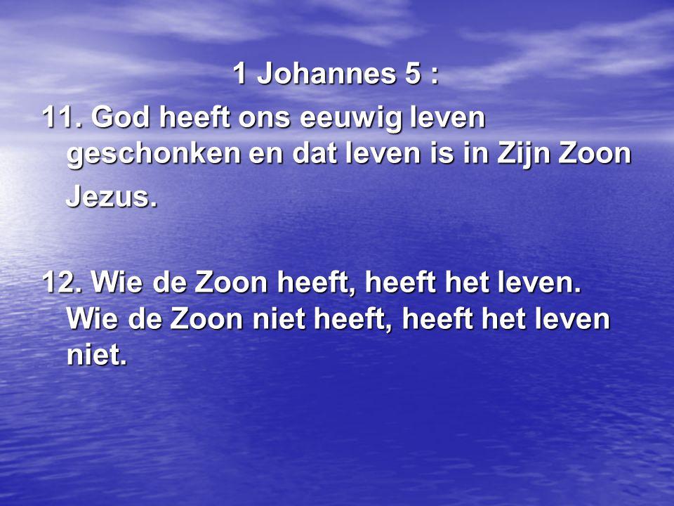 1 Johannes 5 : 1 Johannes 5 : 11. God heeft ons eeuwig leven geschonken en dat leven is in Zijn Zoon Jezus. Jezus. 12. Wie de Zoon heeft, heeft het le