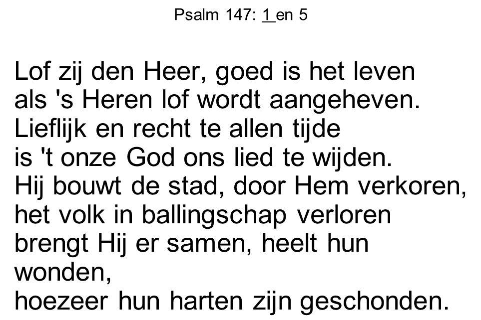 Psalm 147: 1 en 5 Lof zij den Heer, goed is het leven als 's Heren lof wordt aangeheven. Lieflijk en recht te allen tijde is 't onze God ons lied te w