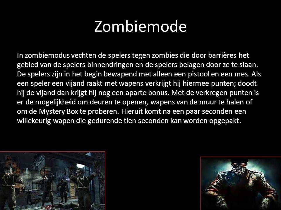 Zombiemode In zombiemodus vechten de spelers tegen zombies die door barrières het gebied van de spelers binnendringen en de spelers belagen door ze te