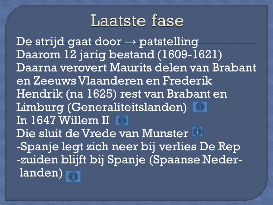 De strijd gaat door → patstelling Daarom 12 jarig bestand (1609-1621) Daarna verovert Maurits delen van Brabant en Zeeuws Vlaanderen en Frederik Hendr