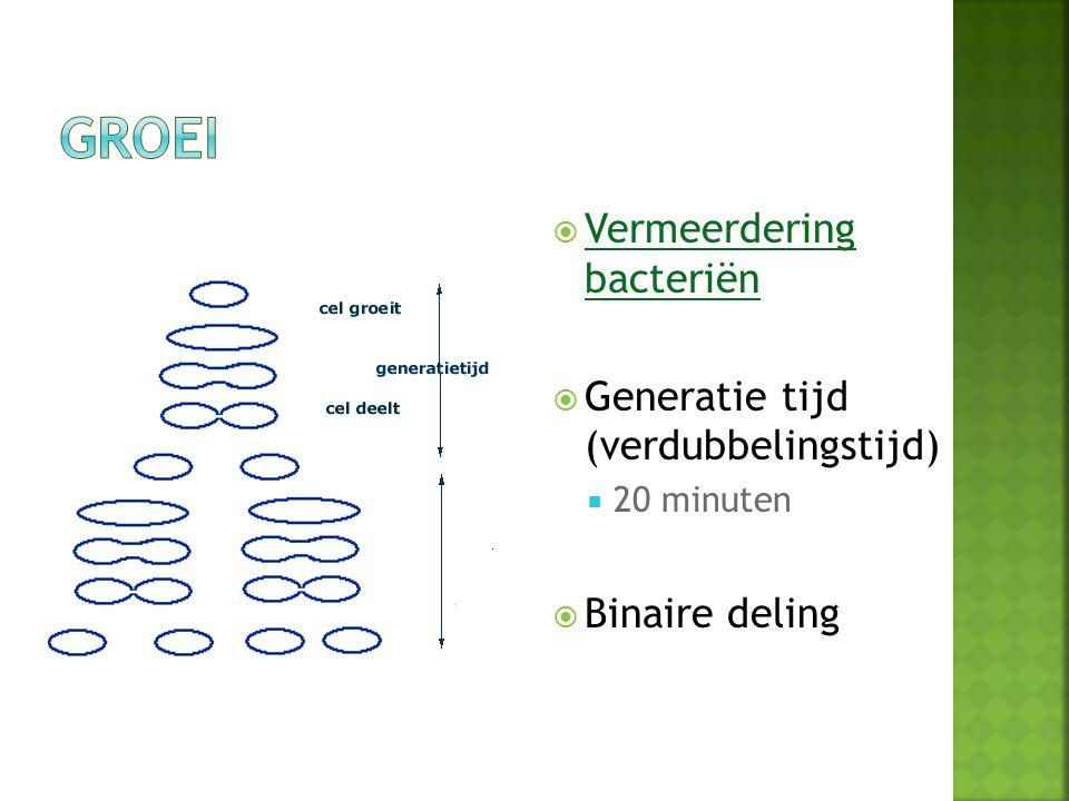  Vermeerdering bacteriën Vermeerdering bacteriën  Generatie tijd (verdubbelingstijd)  20 minuten  Binaire deling