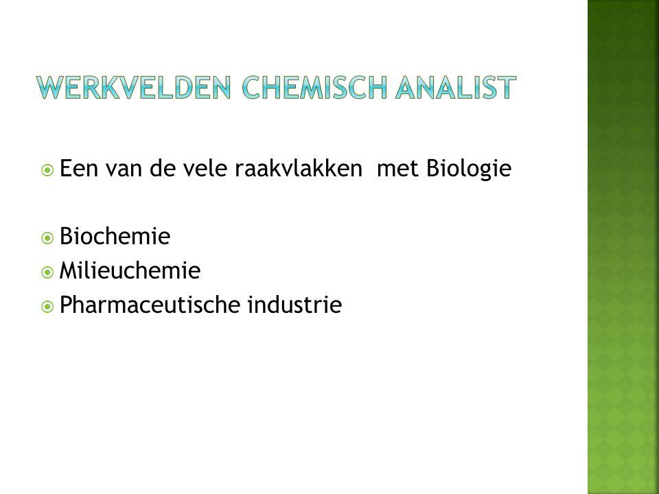  Een van de vele raakvlakken met Biologie  Biochemie  Milieuchemie  Pharmaceutische industrie