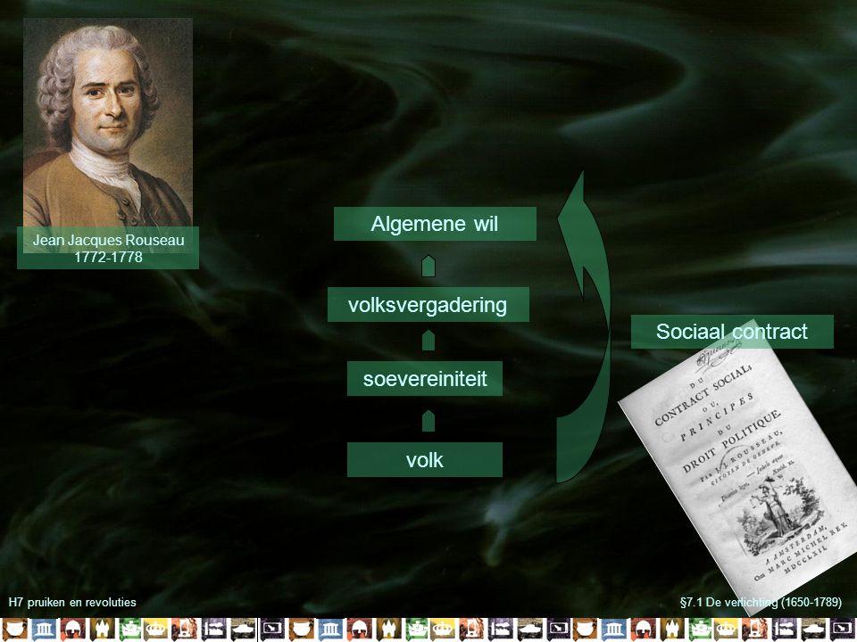 Jean Jacques Rouseau 1772-1778 volksvergadering soevereiniteit volk Algemene wil Sociaal contract H7 pruiken en revoluties§7.1 De verlichting (1650-1789)