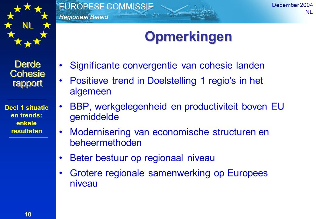 Regionaal Beleid EUROPESE COMMISSIE Derde Cohesie rapport Derde Cohesie rapport NL December 2004 NL 10 Opmerkingen Opmerkingen Significante convergentie van cohesie landen Positieve trend in Doelstelling 1 regio s in het algemeen BBP, werkgelegenheid en productiviteit boven EU gemiddelde Modernisering van economische structuren en beheermethoden Beter bestuur op regionaal niveau Grotere regionale samenwerking op Europees niveau Deel 1 situatie en trends: enkele resultaten