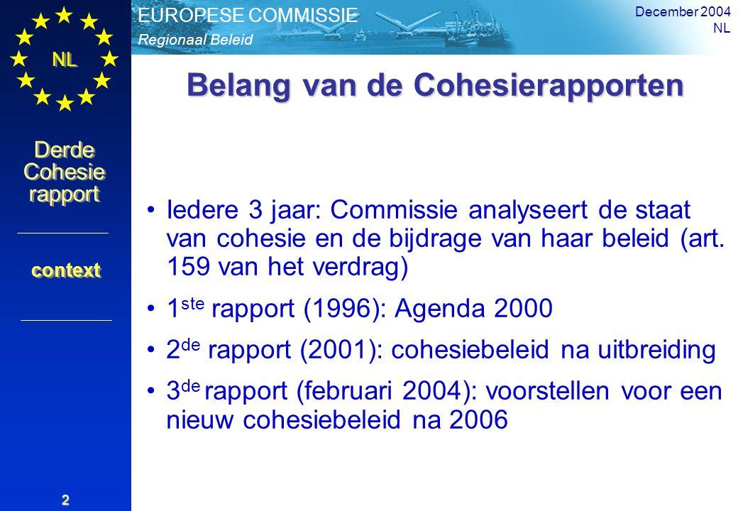 Regionaal Beleid EUROPESE COMMISSIE Derde Cohesie rapport Derde Cohesie rapport NL December 2004 NL 2 Belang van de Cohesierapporten Iedere 3 jaar: Commissie analyseert de staat van cohesie en de bijdrage van haar beleid (art.