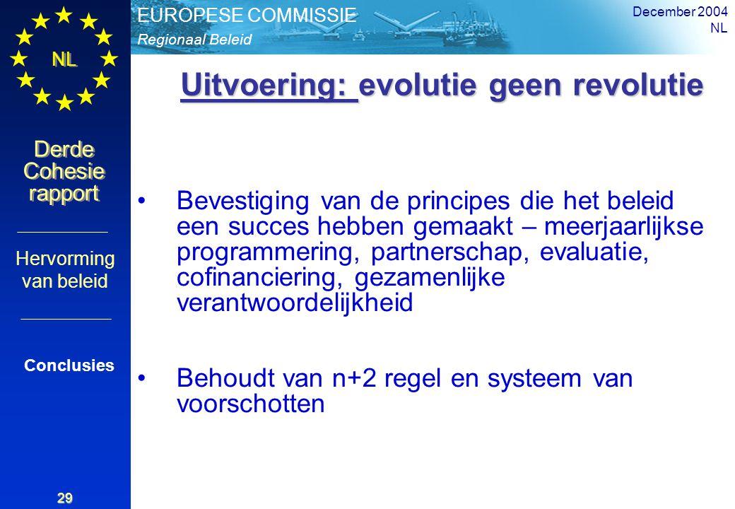 Regionaal Beleid EUROPESE COMMISSIE Derde Cohesie rapport Derde Cohesie rapport NL December 2004 NL 29 Bevestiging van de principes die het beleid een succes hebben gemaakt – meerjaarlijkse programmering, partnerschap, evaluatie, cofinanciering, gezamenlijke verantwoordelijkheid Behoudt van n+2 regel en systeem van voorschotten Conclusies Hervorming van beleid Uitvoering: evolutie geen revolutie Uitvoering: evolutie geen revolutie