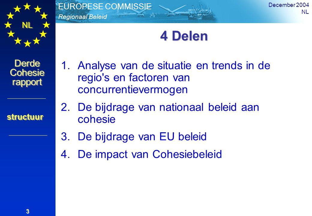 Regionaal Beleid EUROPESE COMMISSIE Derde Cohesie rapport Derde Cohesie rapport NL December 2004 NL 3 4 Delen 1.Analyse van de situatie en trends in de regio s en factoren van concurrentievermogen 2.De bijdrage van nationaal beleid aan cohesie 3.De bijdrage van EU beleid 4.De impact van Cohesiebeleid structuur
