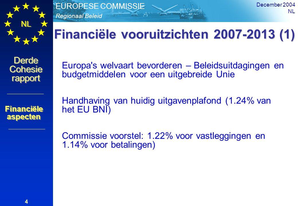 Regionaal Beleid EUROPESE COMMISSIE Derde Cohesie rapport Derde Cohesie rapport NL December 2004 NL 4 Financiële vooruitzichten 2007-2013 (1) Europa s welvaart bevorderen – Beleidsuitdagingen en budgetmiddelen voor een uitgebreide Unie Handhaving van huidig uitgavenplafond (1.24% van het EU BNI) Commissie voorstel: 1.22% voor vastleggingen en 1.14% voor betalingen) Financiële aspecten