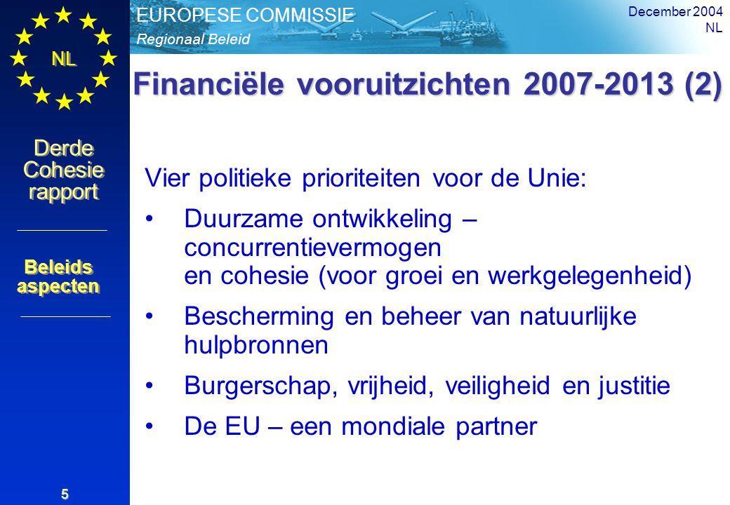 Regionaal Beleid EUROPESE COMMISSIE Derde Cohesie rapport Derde Cohesie rapport NL December 2004 NL 5 Financiële vooruitzichten 2007-2013 (2) Vier politieke prioriteiten voor de Unie: Duurzame ontwikkeling – concurrentievermogen en cohesie (voor groei en werkgelegenheid) Bescherming en beheer van natuurlijke hulpbronnen Burgerschap, vrijheid, veiligheid en justitie De EU – een mondiale partner Beleids aspecten