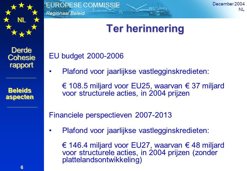 Regionaal Beleid EUROPESE COMMISSIE Derde Cohesie rapport Derde Cohesie rapport NL December 2004 NL 6 Ter herinnering EU budget 2000-2006 Plafond voor jaarlijkse vastlegginskredieten: € 108.5 miljard voor EU25, waarvan € 37 miljard voor structurele acties, in 2004 prijzen Financiele perspectieven 2007-2013 Plafond voor jaarlijkse vastlegginskredieten: € 146.4 miljard voor EU27, waarvan € 48 miljard voor structurele acties, in 2004 prijzen (zonder plattelandsontwikkeling) Beleids aspecten